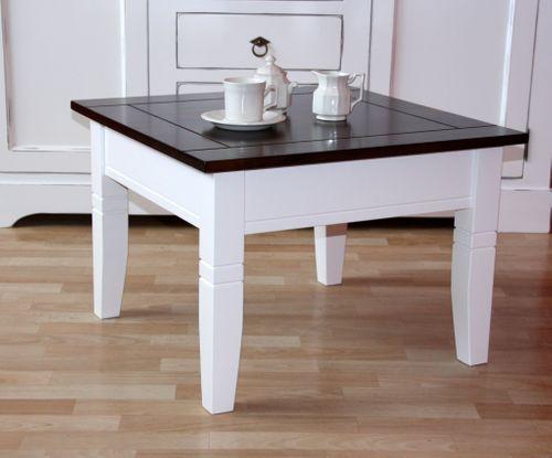 Couchtisch weiß/nussbaum Beistelltisch quadratisch 65x65cm Holz massiv 2farbig – Bild 1