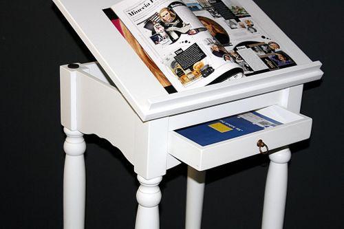 Stehpult Rednerpult Notenständer Lesepult massiv weiß – Bild 7