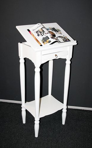 Stehpult Rednerpult Notenständer Lesepult massiv weiß – Bild 1