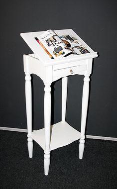 Stehpult 50x105x38cm, 1 Schublade, 1 verstellbare Klappe, Pappel massiv weiß lackiert