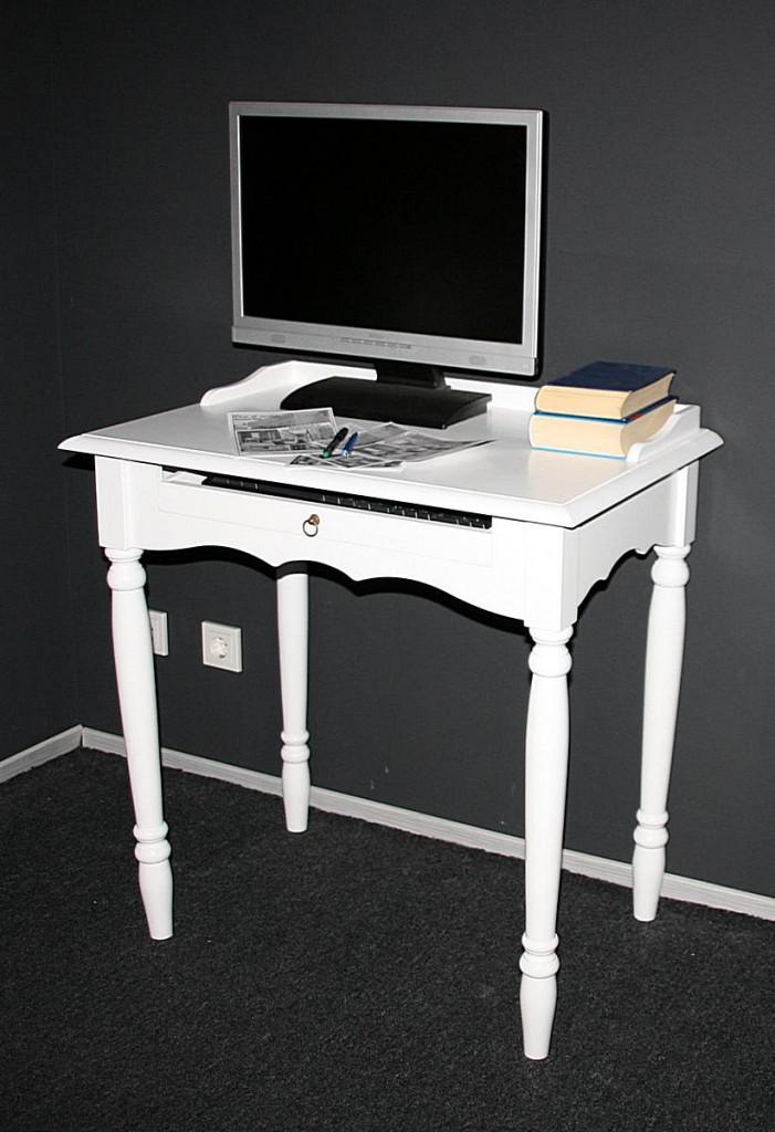 Sekretär mit Tastaturauszug Computertisch - Holz massiv weiß – Bild 2