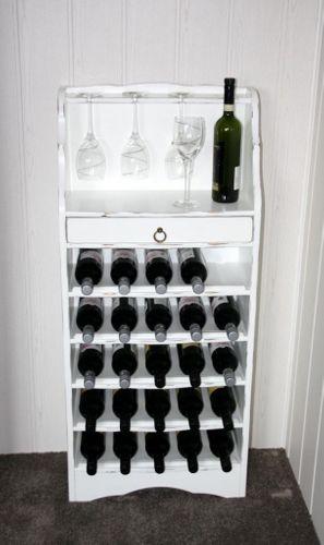Weinregal weiß antik Flaschenregal Weinaufbewahrung Regal für 25 Flaschen Pappel massiv – Bild 2