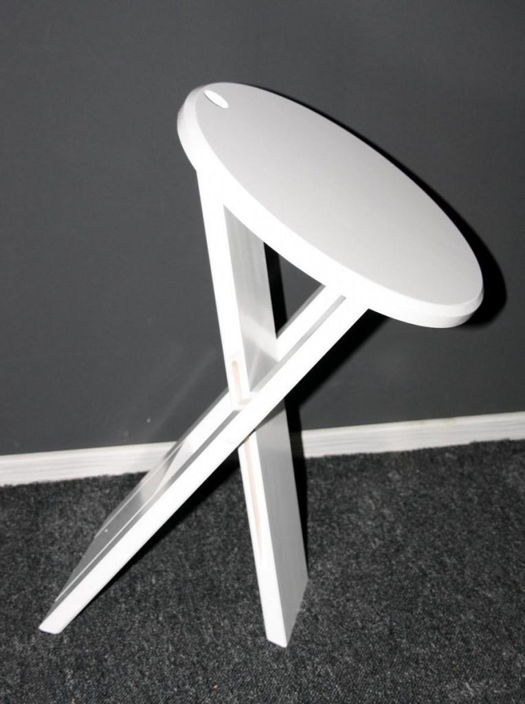 Klapphocker weiß  Klapphocker 30x45x30cm, Pappel massiv weiß lackiert