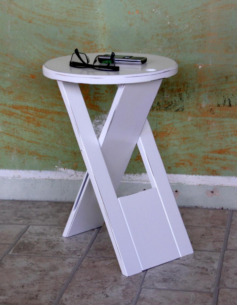 Hocker Klapphocker weiß antik Blumenhocker Nachttisch Beistelltisch – Bild 3