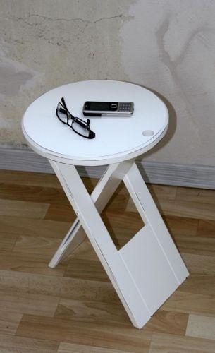 Hocker Klapphocker weiß antik Blumenhocker Nachttisch Beistelltisch – Bild 4