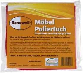 Renuwell 4 Möbel-Poliertücher Möbeltuch Poliertuch farblich sortiert Möbelpflege 001