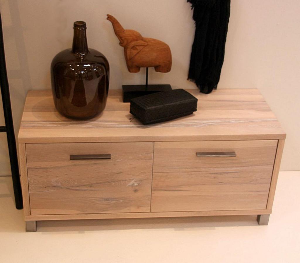 dielenbank 100x44x40cm 2 schubladen balkeneiche massiv. Black Bedroom Furniture Sets. Home Design Ideas