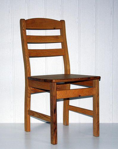 Holzstuhl massiv Stuhl mit Holzsitz Wildeiche geölt – Bild 1