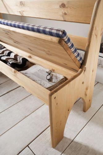 Sitzbank 56cm Kiefer gelaugt geölt Truhenbank Holz massiv – Bild 3