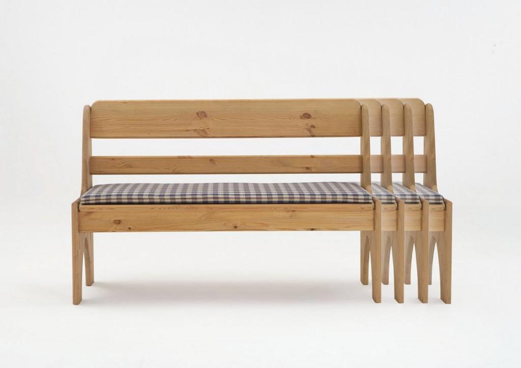 Sitzbank 126cm Kiefer gelaugt geölt Truhenbank Holz massiv