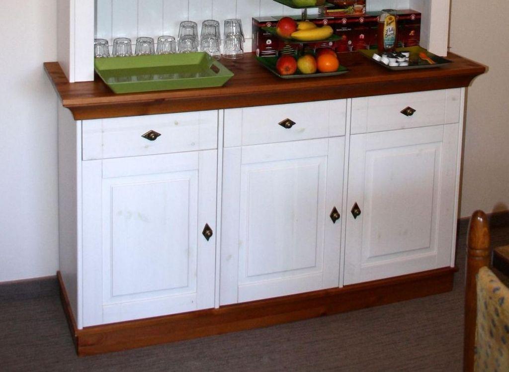 Sideboard 143x85x45cm 3 Türen 3 Schubladen Kiefer Massiv 2farbig