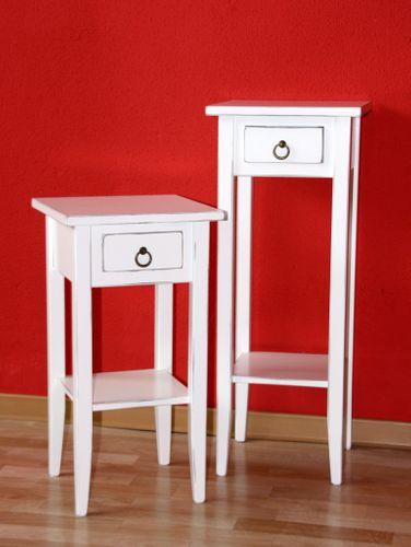 Beistelltische weiß antik Blumentisch Set Blumenhocker Dekosäulen 2 Stück Holz massiv – Bild 1