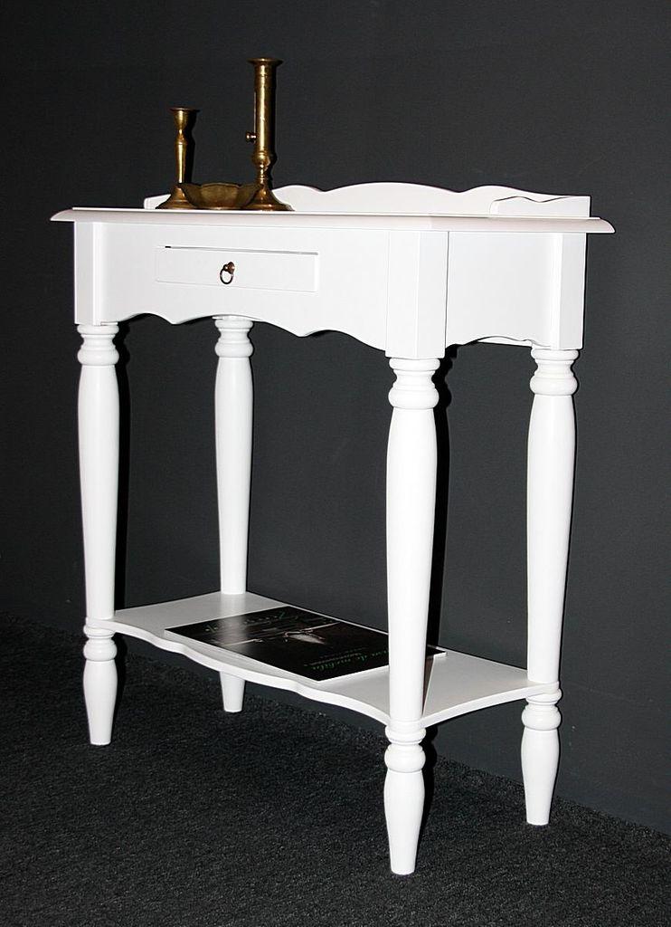 konsolentisch 74x81x33cm 1 schublade 1 ablageboden pappel massiv wei lackiert. Black Bedroom Furniture Sets. Home Design Ideas