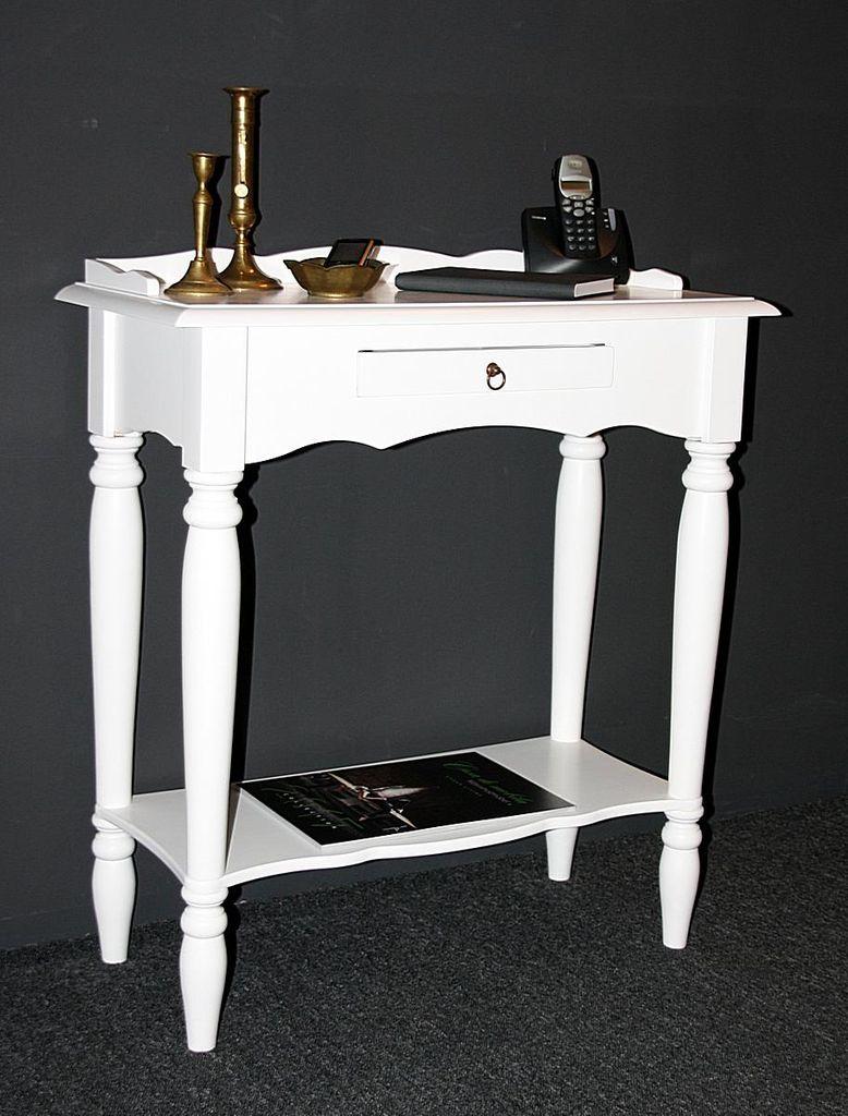Konsolentisch weiß Wandtisch Vollholz Telefontisch massiv lackiert