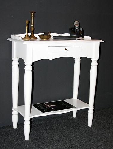 Konsolentisch weiß Wandtisch Vollholz Telefontisch massiv lackiert – Bild 1