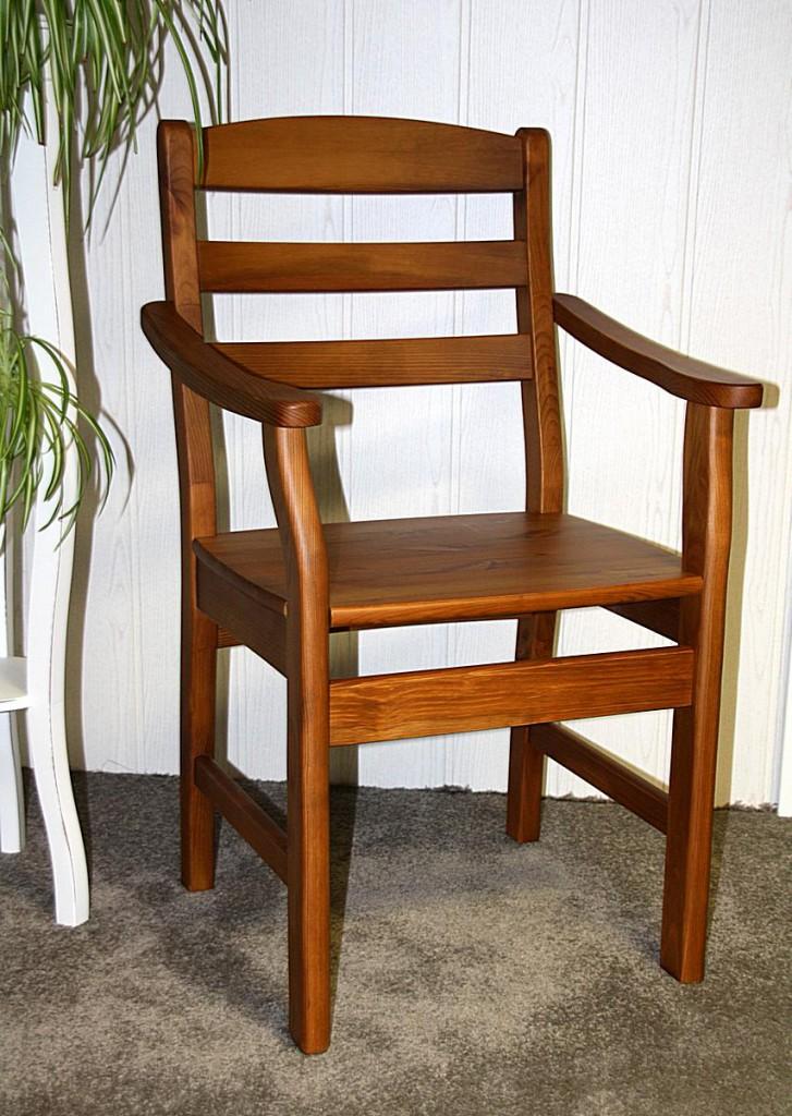 Armlehnstuhl mit Holzsitz Stuhl mit Armlehnen Kiefer massiv honigfarben – Bild 1
