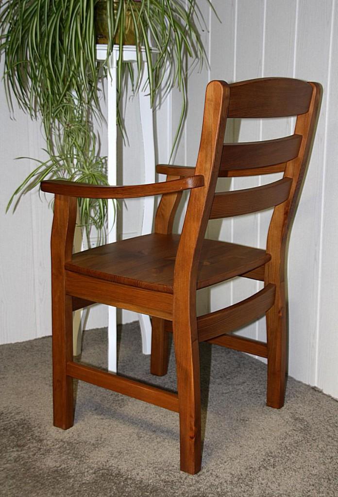 Armlehnstuhl mit Holzsitz Stuhl mit Armlehnen Kiefer massiv honigfarben – Bild 5