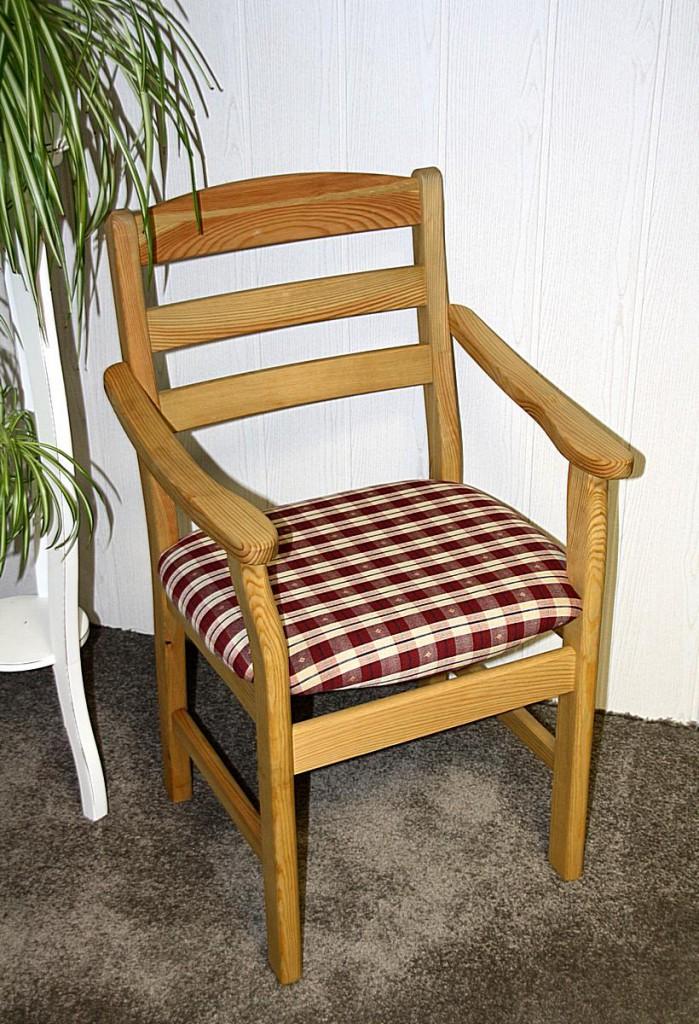 Armlehnstuhl mit Polstersitz Stuhl mit Armlehnen Kiefer massiv gelaugt geölt Stoff 20/305/4 – Bild 1