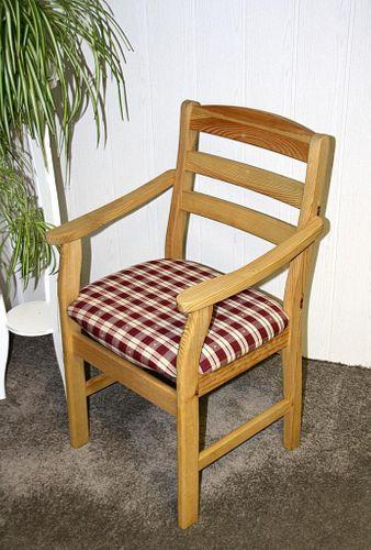 Armlehnstuhl mit Polstersitz Stuhl mit Armlehnen Kiefer massiv gelaugt geölt Stoff 20/305/4 – Bild 4