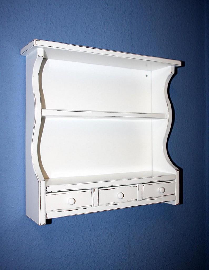 gew rzregal 42x43x13cm mit 3 schubladen fichte massiv wei antik lackiert. Black Bedroom Furniture Sets. Home Design Ideas