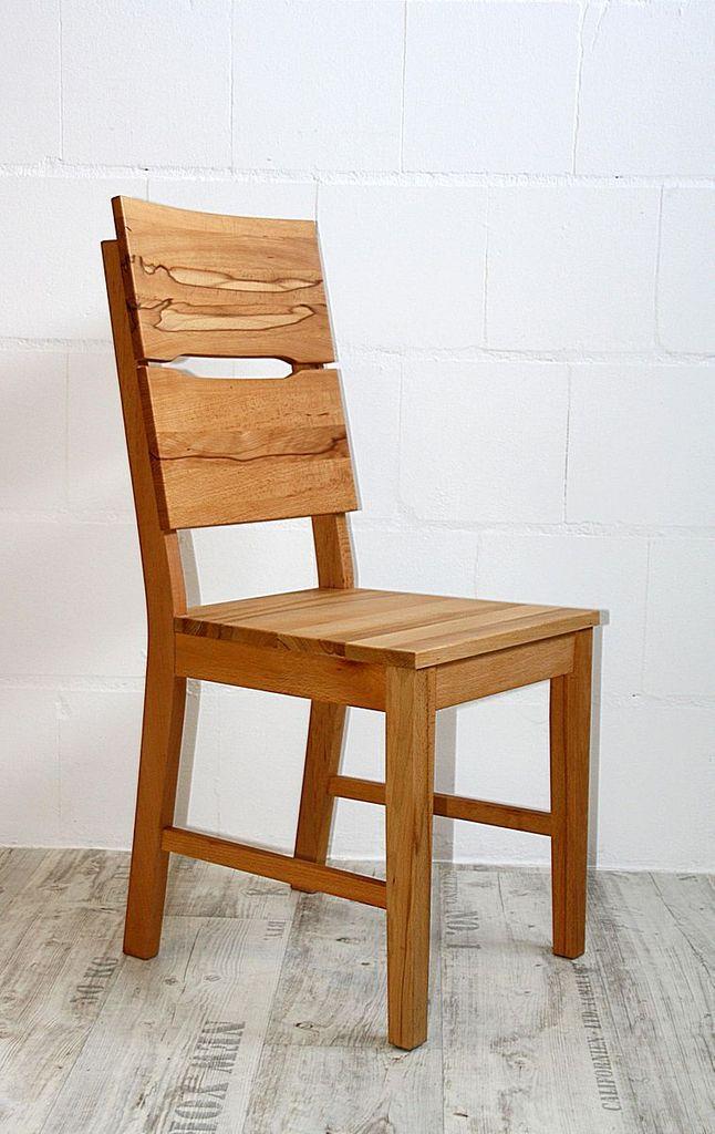 Stuhl 46x95x50cm Mit Holzsitz Kernbuche Massiv Geölt