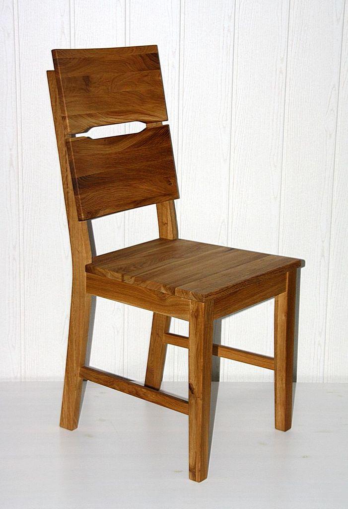 Holzstuhl geölt Vollholz Stuhl mit Holzsitz Wildeiche massiv