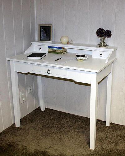 Sekretär Konsolentisch Schreibtisch Holz massiv weiß – Bild 1