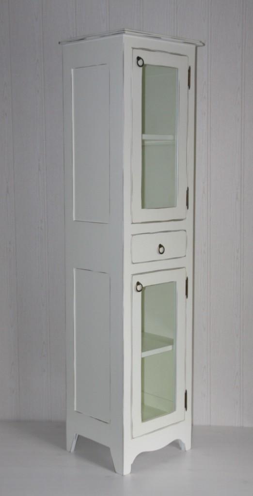 badezimmermobel weis antik, vitrine 43x166x37cm, 2 glastüren, 1 schublade, pappel massiv weiß, Design ideen