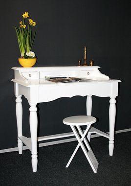 Sekretär 98x92x54cm, 2 Schubladen, Pappel massiv weiß lackiert