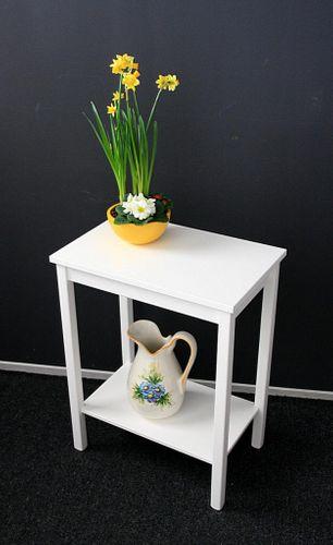 Konsolentisch weiß Beistelltisch Nachttisch Holz massiv Beistelltisch Nachttisch – Bild 5