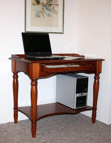 Sekretär Computertisch Schreibtisch PC Tisch Holz massiv kirschbaumfarben – Bild 1
