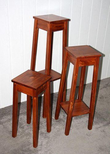 Blumenhocker 3er Set kirschbaumfarben Blumentisch 60/80/100cm Beistelltisch Holz massiv – Bild 5