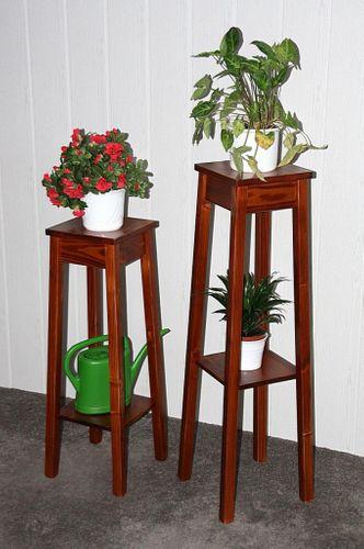 Blumenhocker 2er Set kirschbaumfarben Blumentisch 80/100cm Beistelltisch Holz massiv – Bild 1