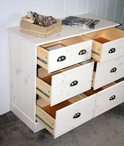 Apothekerkommode Kiefer Kommode mit 6 Schubladen massiv weiß gewischt – Bild 5
