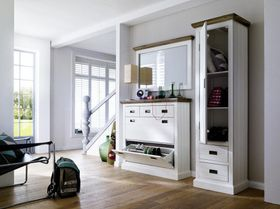 Dielen-Set 3teilig Akazie weiß vintage Dielenmöbel shabby-chic