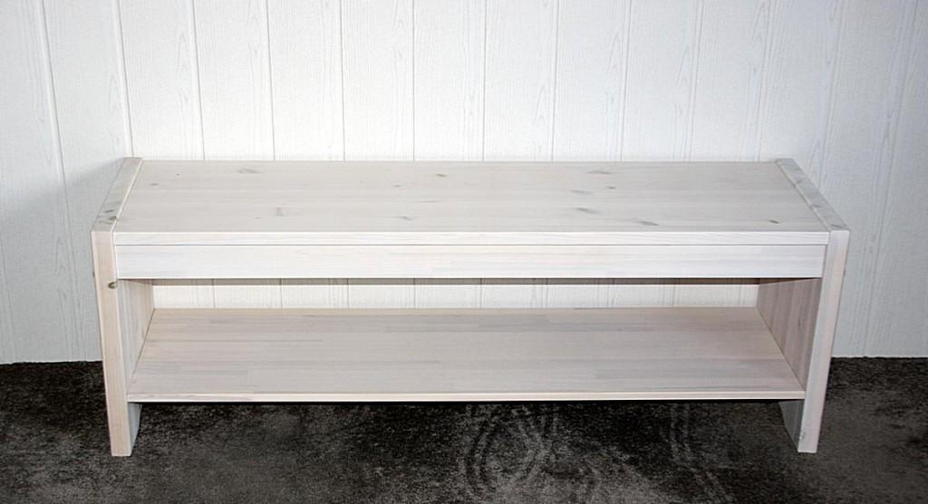 sitzbank 140x48x40cm 1 ablageboden kiefer massiv wei. Black Bedroom Furniture Sets. Home Design Ideas