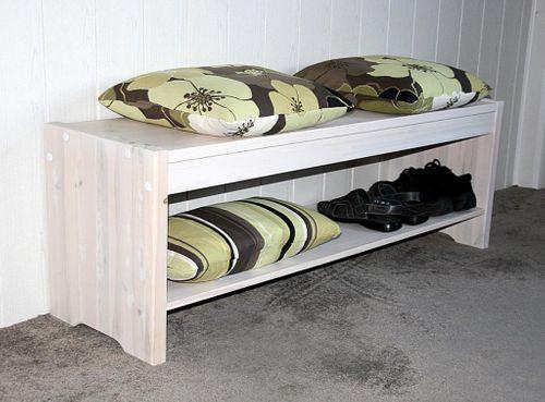 Sitzbank 140cm Kiefer massiv Vollholz Küchenbank Holzbank weiß – Bild 1