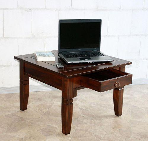 Couchtisch Beistelltisch braun nussbaum Farbe Sofatisch Tisch 65x65cm Schublade – Bild 6
