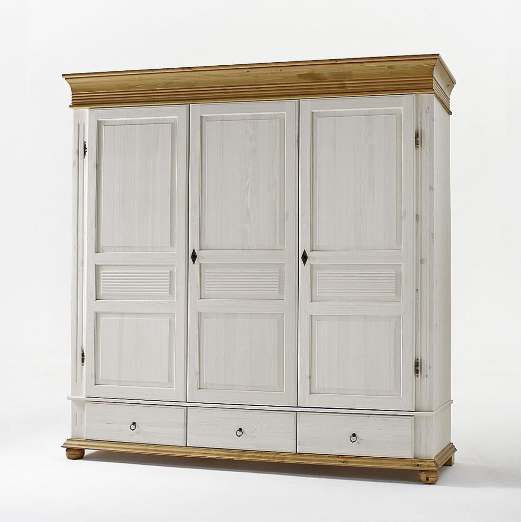 Kleiderschrank 3türig Weiß Schlafzimmerschrank Kiefer Massiv Vollholz