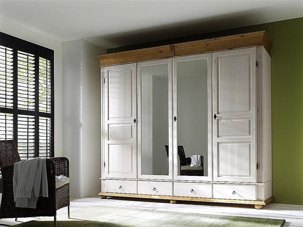 Kleiderschrank 4türig XL Spiegel Weiß Schlafzimmerschrank Kiefer Massiv  Vollholz