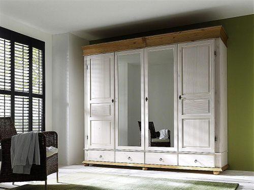 Kleiderschrank 4türig XL Spiegel weiß Schlafzimmerschrank Kiefer massiv Vollholz – Bild 1