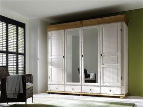 Kleiderschrank 4türig, 253x219x63cm, 2 Spiegeltüren, 4 Schubladen, Kiefer massiv