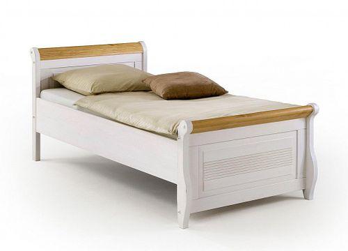 Doppelbett 160x200 weiß Vollholz Bett Kiefer massiv antik kolonial – Bild 1