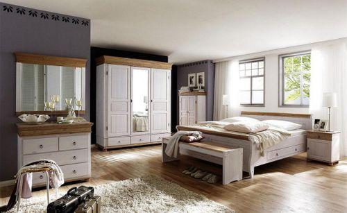 Doppelbett 180x200 weiß Vollholz Bett Kiefer massiv antik kolonial – Bild 2