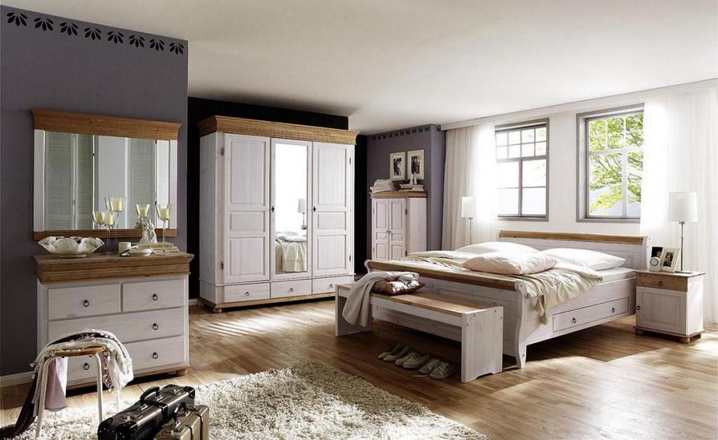Schubladenbett 140x200 weiß Vollholz Doppelbett Kiefer massiv antik kolonial – Bild 2