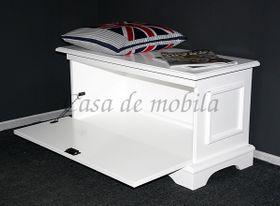 Truhe 91x46x40cm, mit Klappe, Pappel massiv weiß lackiert