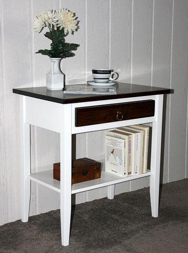 Beistelltisch Nachttisch Konsolentisch Holz massiv weiß nussbaum – Bild 1