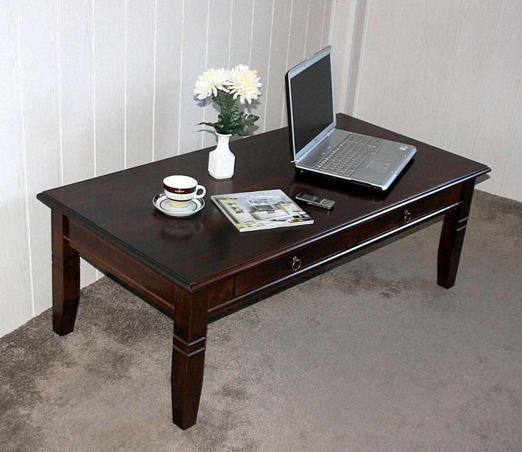 Couchtisch Wohnzimmertisch 130x64 Braun Nussbaum Farbe Mit Schubladen Massiv Vollholz Bild 2