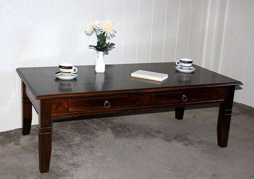 Couchtisch Wohnzimmertisch 130x64 braun nussbaum Farbe mit Schubladen massiv Vollholz – Bild 3