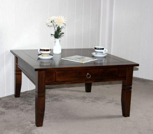 Couchtisch Beistelltisch braun nussbaum Farbe Sofatisch Tisch 85x85cm mit Schublade – Bild 1